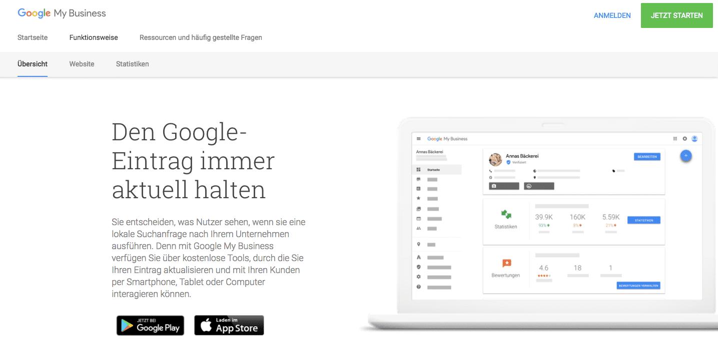 Google My Business Startseite